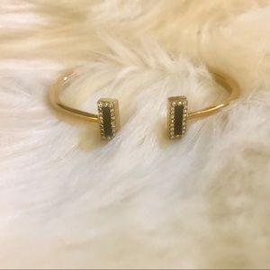 Kate Spade Hinged Gold Tone Crystal Cuff Bracelet